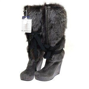 Cinzia Araia Gray Suede Fur Wedge Gladiator Women's Boots 40 US 10 NEW